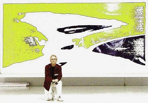 the artist Ture Sjolander (17 September 2003)  in front of a large print on canvas, from TIME 1966.